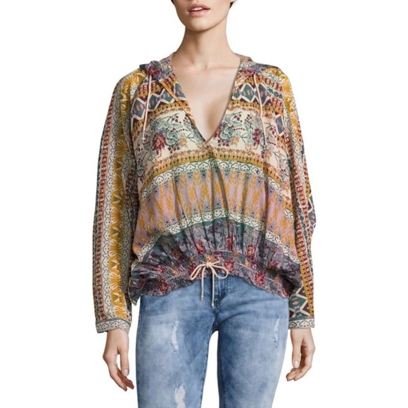 60f06301609 Free People Tops - Free People Hooded Mixed Print Top